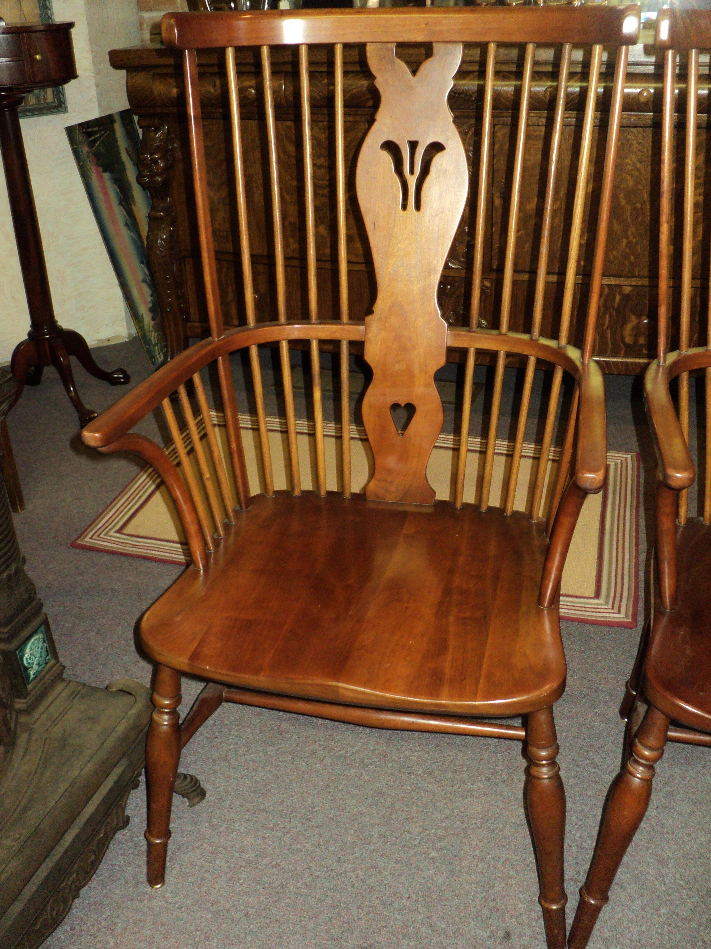 British Colonial Leopold Stickley Cherry Windsor Arm Chairs  A Pair For  Sale   Image 3