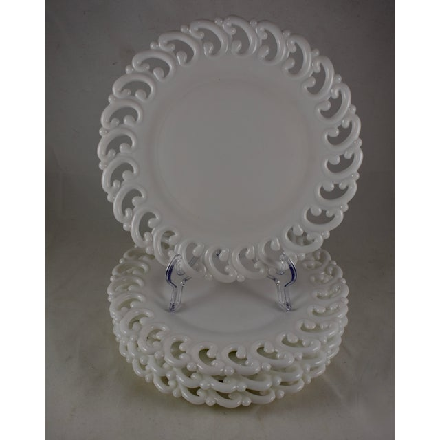 White 19th C. Eapg Lace Edge Milk Glass Dinner Plates, S/4 For Sale - Image 8 of 8