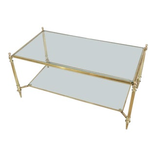 Neoclassical Brass and Glass Coffee Table by Maison Jansen For Sale