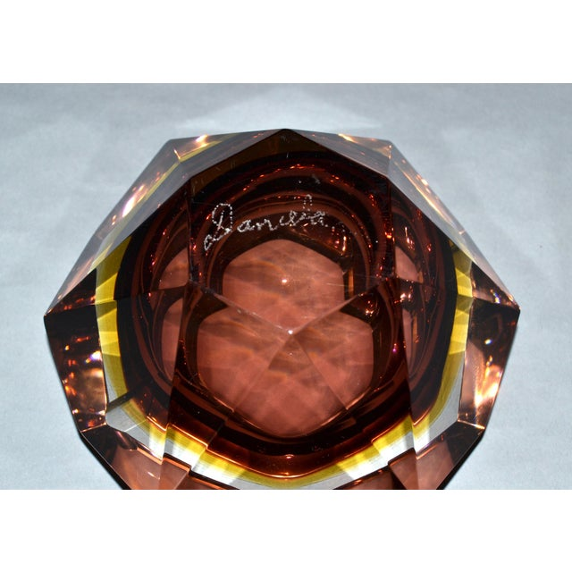 Signed Multi Faceted Murano Glass Ashtray Attributed to Flavio Poli, Italy For Sale - Image 9 of 12