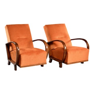 Pair of Mid Century Italian Chairs With Walnut Arms & Pumpkin Chenille Upholstery For Sale