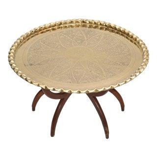 Mid-Century Modern Round Walnut Spider Leg & Bronze Moroccan Tray Coffee Table For Sale