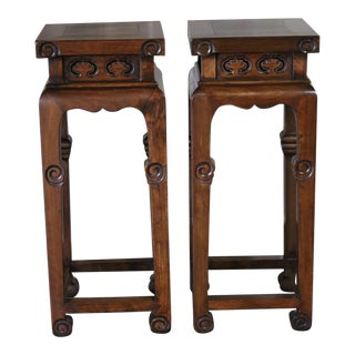 1920s Chinese Walnut Wood Stands - a Pair For Sale