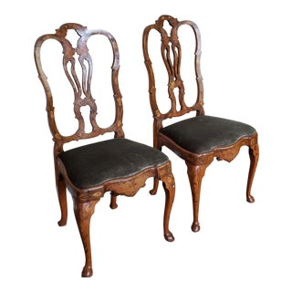 Pair Antique Dutch Marquetry 19th Century Side Chairs C1880