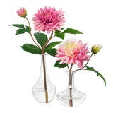 Image of Diane James for Chairish Faux Pink Dahlias in Bud Vases - a Pair For Sale