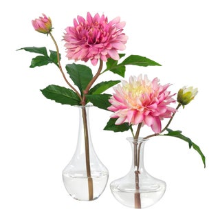 Diane James for Chairish Faux Pink Dahlias in Bud Vases - a Pair For Sale