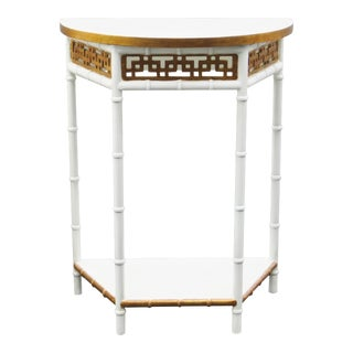 Asian Style Faux Bamboo Demilune Side Table For Sale