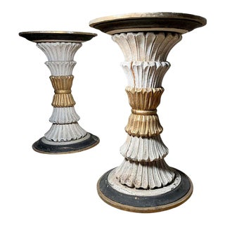 Vintage Italian Carved Wood Pedestal Table Bases - A Pair For Sale