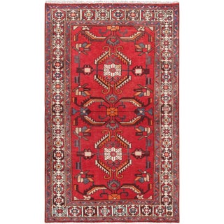 """Pasargad Vintage Hamadan Red and Ivory Wool Area Rug- 4' 1"""" X 6' 9"""" For Sale"""