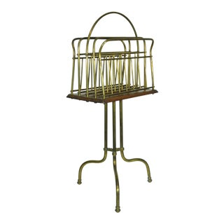Vintage English Brass & Wood Swivel Magazine Rack For Sale