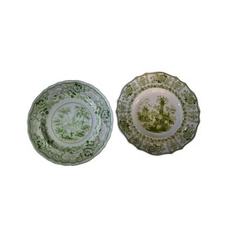 19th Century Antique Davenport and Pekin Rc&a Green Transferware Luncheon Plates- A Pair For Sale