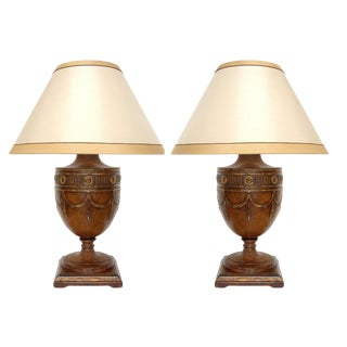 Pair of Georgian Style Carved Walnut Designer Table Lamps by Randy Esada For Sale