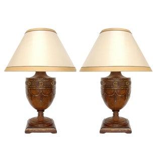 Regency Carved Walnut Designer Table Lamps by Randy Esada - a Pair For Sale