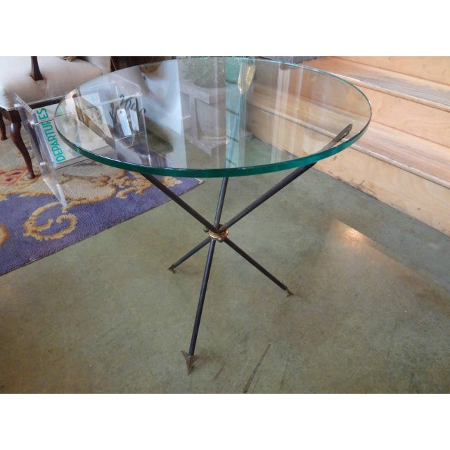 Chic Italian mid-century modern Neoclassical style or Directorie style iron and brass/bronze tripod table, side table,...