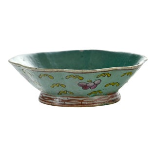 19th-C. Aqua Octagonal Bowl For Sale