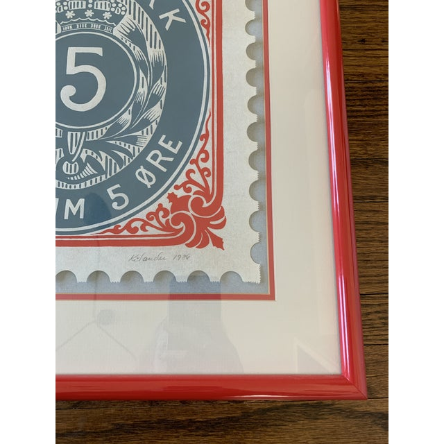 """Stunning and bold oversized Danmark stamp in poppy red metal frame. """"Danmark postfrim 5"""" Excellent vintage condition...."""