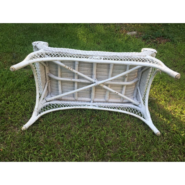 Vintage Scrolled Arm Wicker Bench - Image 6 of 6