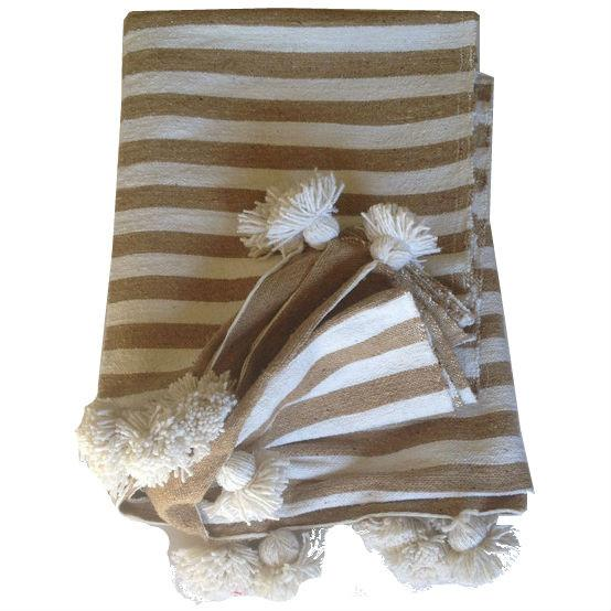 Beige Striped Moroccan Blanket with Tassels - Image 1 of 4