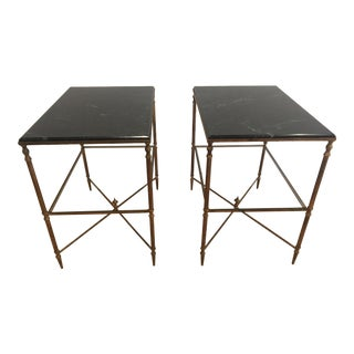 Vintage Marble & Brass Side Tables - A Pair For Sale