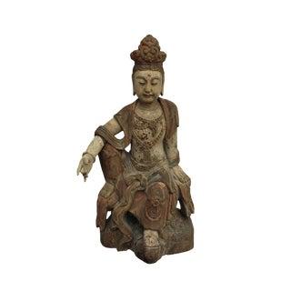 Chinese Rustic Distressed Finish Wood Kwan Yin Bodhisattva Statue