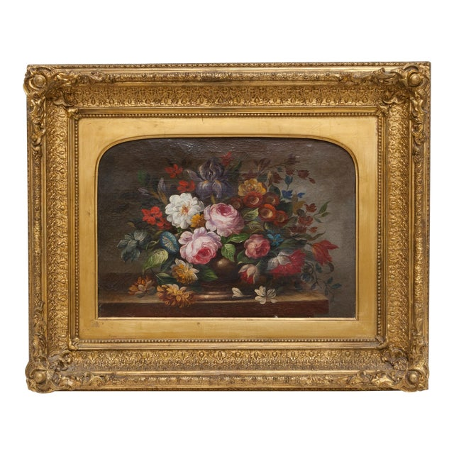 19th Century Floral Still Life Oil Painting Set in Ornate Gold Frame For Sale