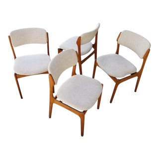 Teak Danish Modern Dining Chairs Attributed to Erik Buch - Set 4 For Sale