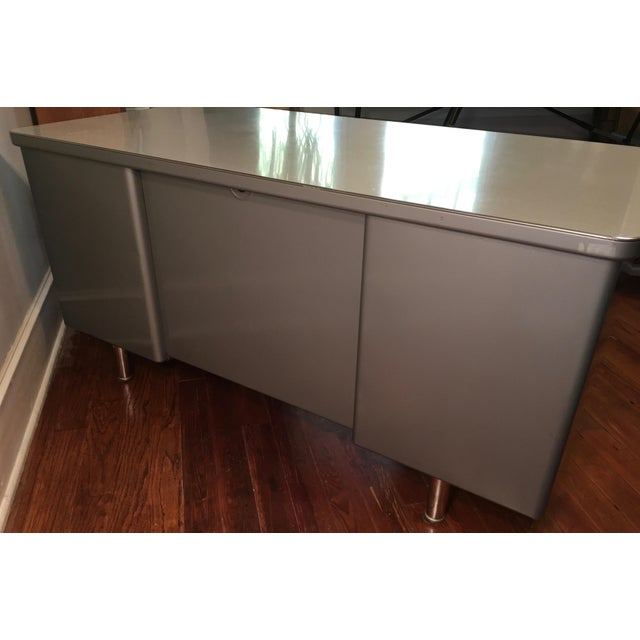 Steelcase Mid-Century Industrial Tanker Desk For Sale - Image 10 of 11