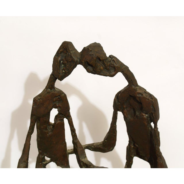 Bronze Brutalist Sculpture of the Lovers or Adam and Eve Unsigned. 1970's era. Very heavy cast bronze sculpture. Lost...