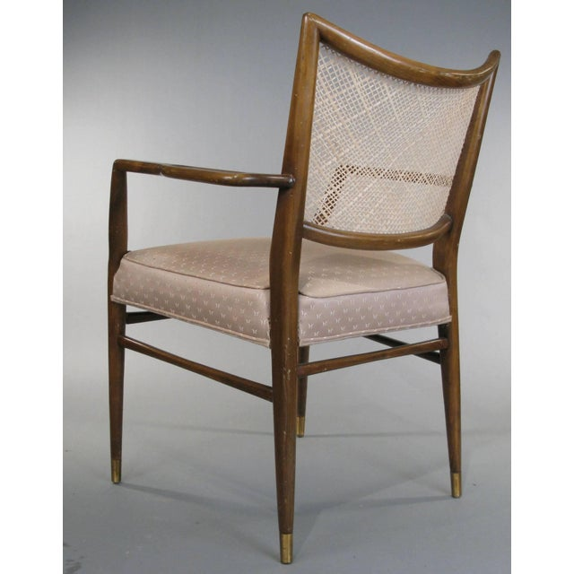 1950s Stylish Mid Century Walnut and Cane Armchairs - a Pair For Sale - Image 4 of 7