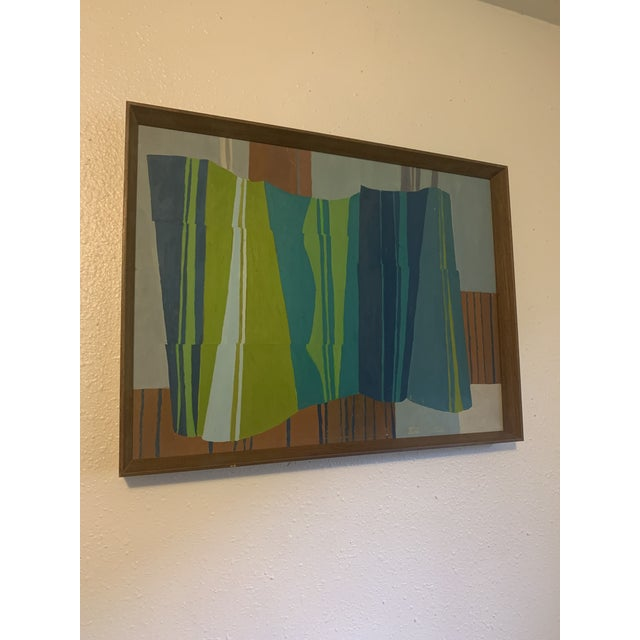 Retro framed jewel toned abstract with a linear pattern. Great addition to your MCM home!