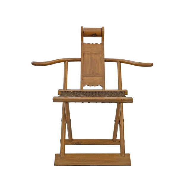 Brown Chinese Elm Wood Wool Seat Wide Arm Folding Armchair For Sale - Image 8 of 8