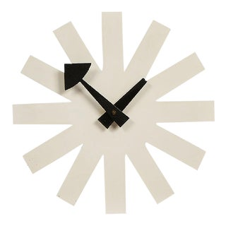 George Nelson Associates Model 2213 White Asterisk Clock for Howard Miller, Circa 1950 For Sale