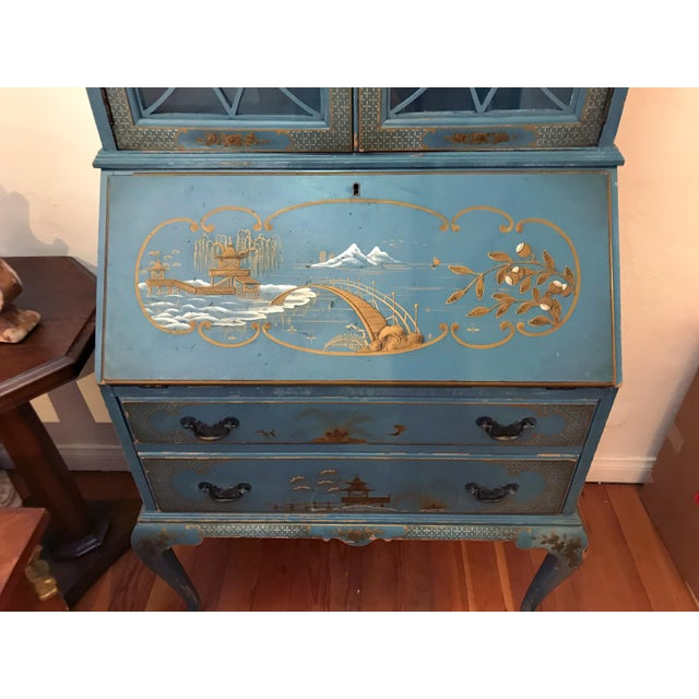 Glass Mid Century Hand Painted Chinoiserie Blue Secretary Desk For Sale - Image 7 of 12