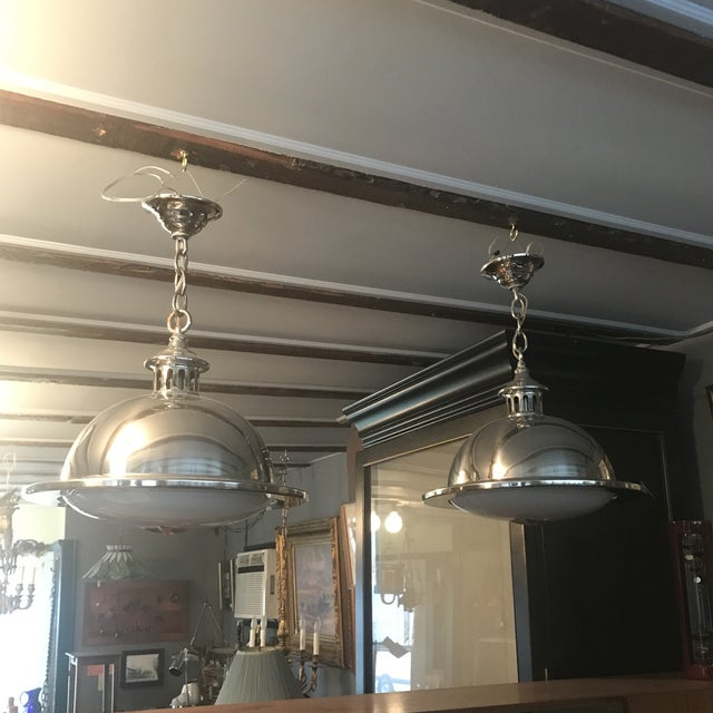 1980s Remains Lighting Brooklyn Ny Stainless Orson Pendant Lights - a Pair For Sale - Image 5 of 6