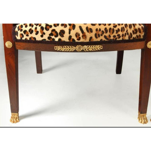 High End Empire Style Chairs With Leopard Fabric- a Pair For Sale - Image 4 of 9