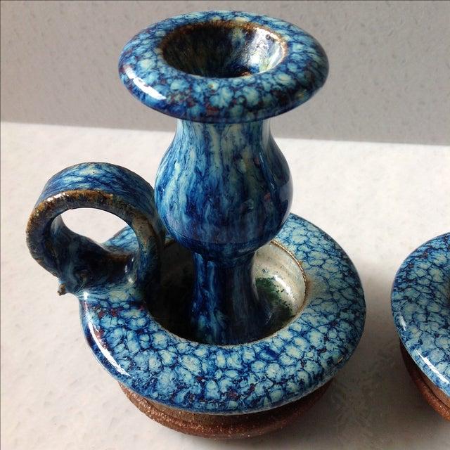 Blue Flambé Studio Pottery Candlesticks - A Pair - Image 3 of 11