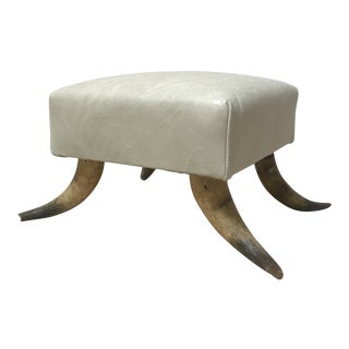 Modern Leather Horn Footstool For Sale