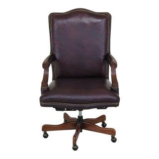 Hekman Leather Swivel Office Desk Chair For Sale