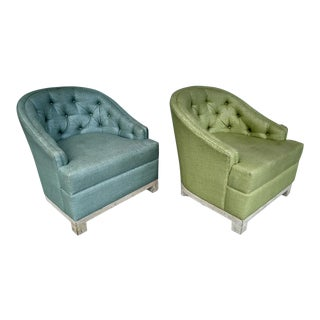 Green & Blue Barrel Chairs for the Viceroy Hotel - a Pair For Sale