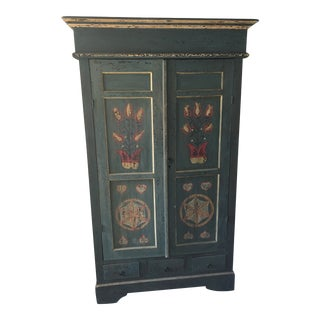 1990s Folk Art Hand Painted Armoire For Sale