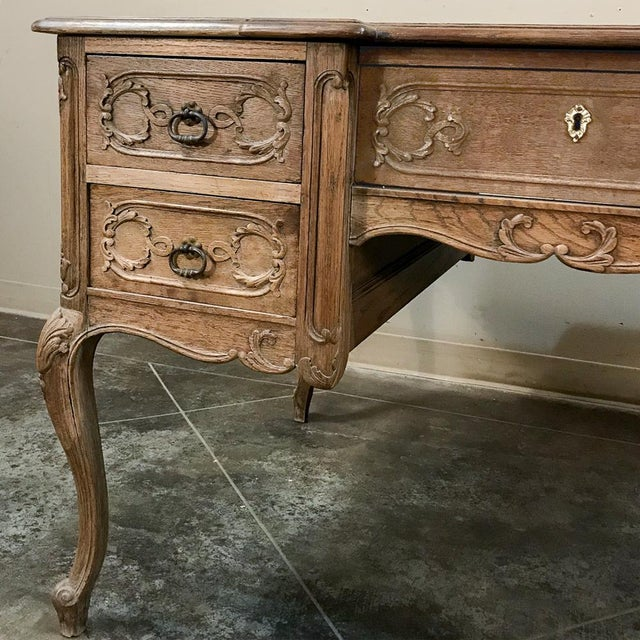 Antique Country French Louis XV Stripped Oak Desk For Sale - Image 10 of 12