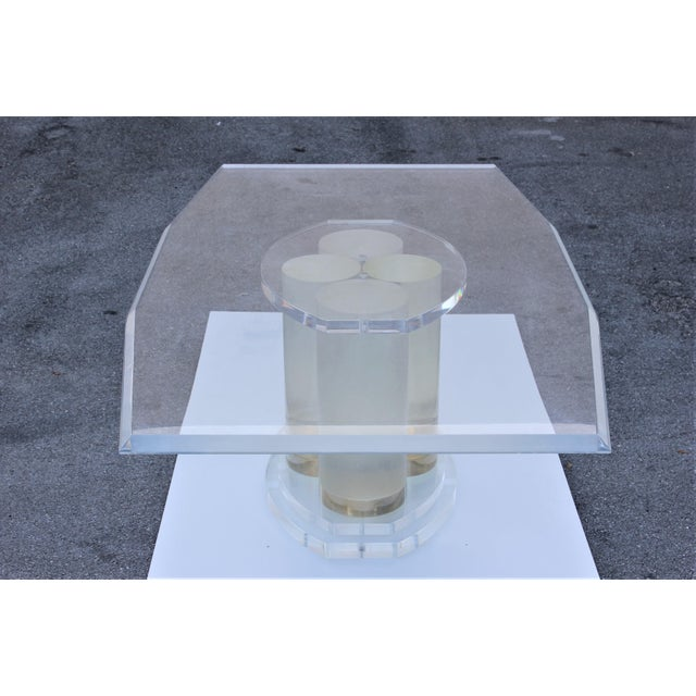 Art Deco Lion in Frost Mid-Century Modern Lucite Dining Table For Sale - Image 3 of 13