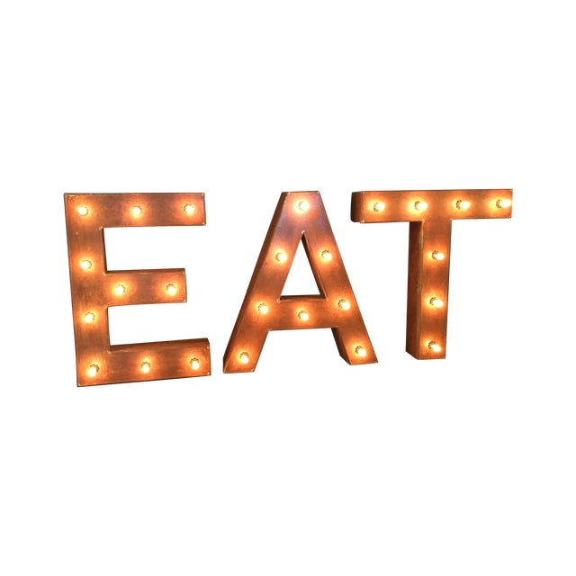 1940s Vintage Up-Cycled Ambient 'Eat' Sign - Image 1 of 10