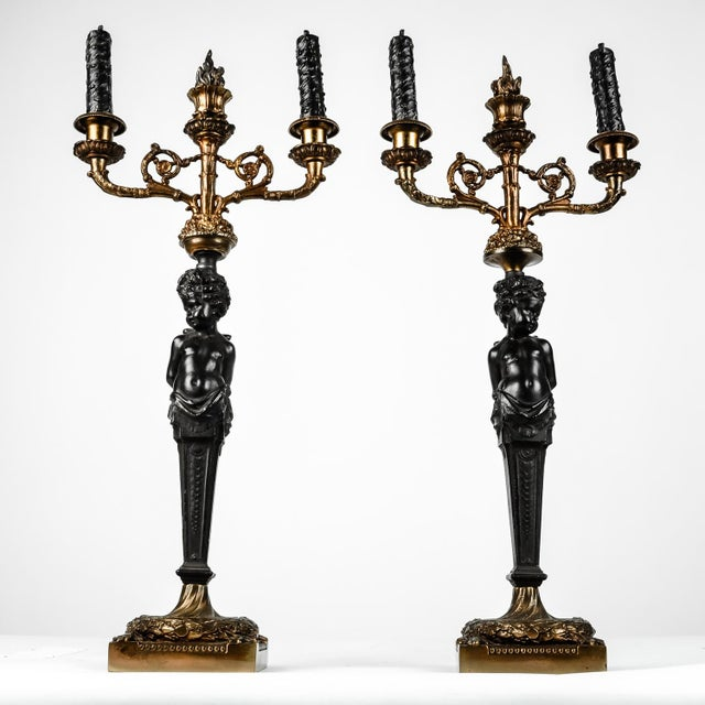 Pair of Antique French Bronze Candelabras For Sale In New York - Image 6 of 7