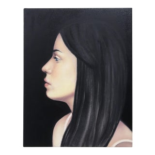 Silhouette Painting Portrait of Young Woman With Black Hair