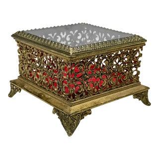 Vintage French Rococo Brass Ornate Glass Top Jewelry Trinket Vanity Box For Sale