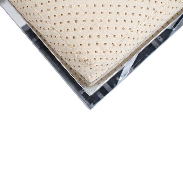 Milo Baughman Milo Baughman Upholstered Chrome Ottoman For Sale - Image 4 of 5