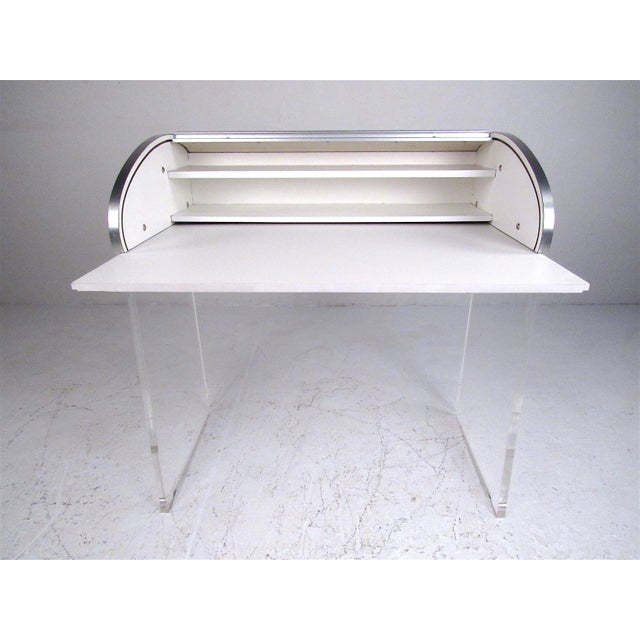 Mid-Century Modern Roll Top Writing Desk For Sale - Image 4 of 13