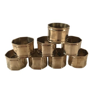 Mid-Century Modern Brass Octagon Shaped Napkin Rings - Set of 8 For Sale