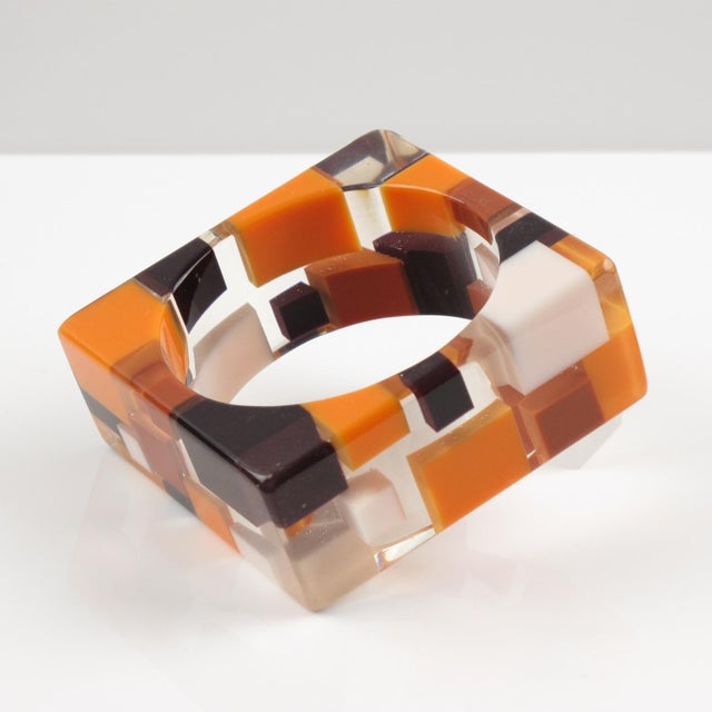 Lucite Oversized Lucite Resin Bracelet Bangle Geometric Inclusions Orange Brown and White For Sale - Image 7 of 7